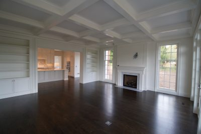 hardwood floor pictures - living room with fireplace
