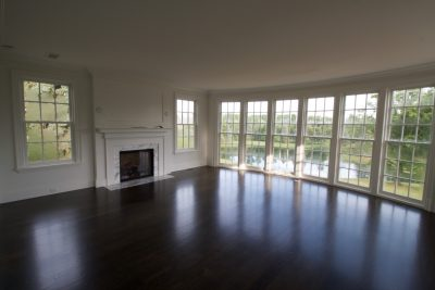 hardwood floor pictures - living room with view of lake