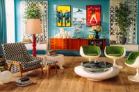 wood floors in a bright, retro-style living room