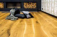 wood floors by a fireplace